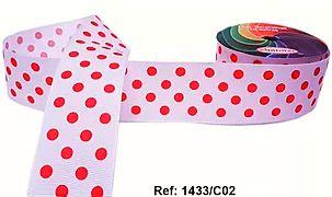 Fita Decorativa com Poá n°9 SINIMBU - C02 Branco c/ Vermelho