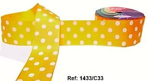 Fita Decorativa com Poá n°9 SINIMBU - C33 Amarelo c/ Branco