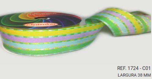 Fita Decorativa Listrada n°9(38mm) SINIMBU - C01 Tons Pasteis
