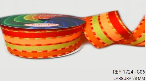 Fita Decorativa Listrada n°9(38mm) SINIMBU - C06 Laranja/Amarelo/Vinho
