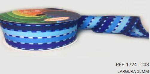 Fita Decorativa Listrada n°9(38mm) SINIMBU - C08 Tons de Azul