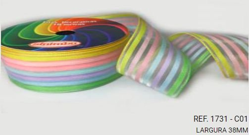 Fita Decorativa Organza Listrada n°9(38mm) SINIMBU - C01 Arco Íris