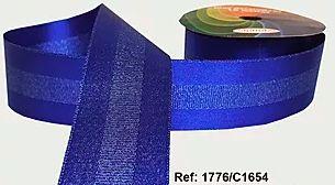 Fita Decorada Gorgurão com Cetim 38mm Sinimbu - 1654 Azul Royal