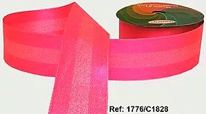 Fita Decorada Gorgurão com Cetim 38mm Sinimbu - 1828 Rosa Fluorescente