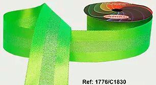 Fita Decorada Gorgurão com Cetim 38mm Sinimbu - 1830 Verde Fluorescente