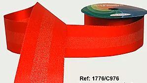 Fita Decorada Gorgurão com Cetim 38mm Sinimbu - 976 Vermelho