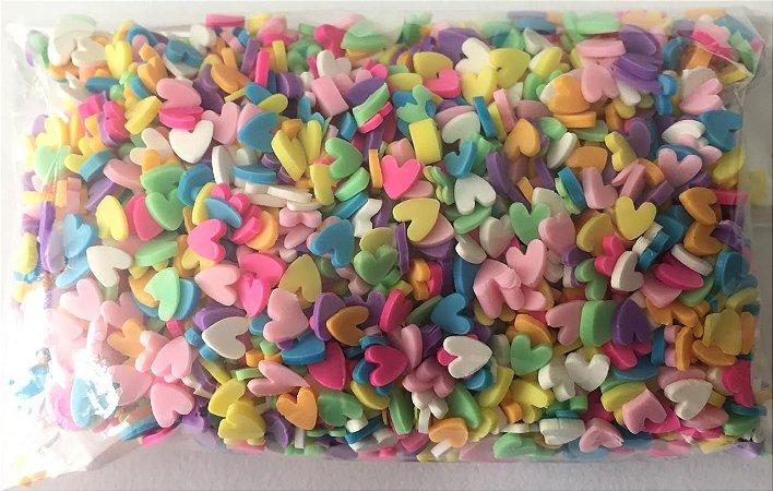 Aplique Mini Coração Colorido - Pacote c/ 10 gramas