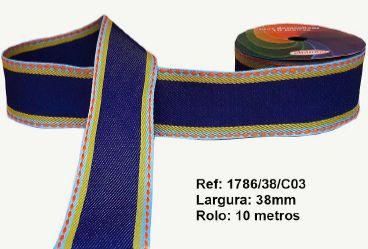Fita Decorativa Jeans Tons Azul/Amarelo/Laranja SINIMBU 38mm C-03