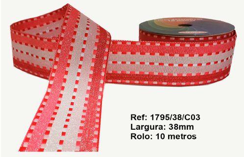 Fita Decorativa Listrada com Brilho (38mm) - C03 Tons Rosa