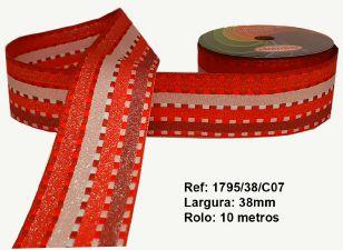 Fita Decorativa Listrada com Brilho (38mm) - C07 Tons Vermelho