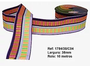Fita Decorativa Retangular (38mm) - C04 Tons Arco Iris Escuro