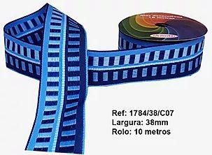 Fita Decorativa Retangular (38mm) - C07 Tons Azul