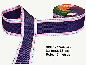 Fita Decorativa Jeans Tons de Rosa SINIMBU 38mm C-02