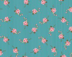Tecido Tricoline Estampado Floral Azul c/Listras (Meio Metro)
