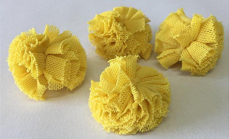 Pompom de Malha Tecido (2cm) c/10 un - Amarelo