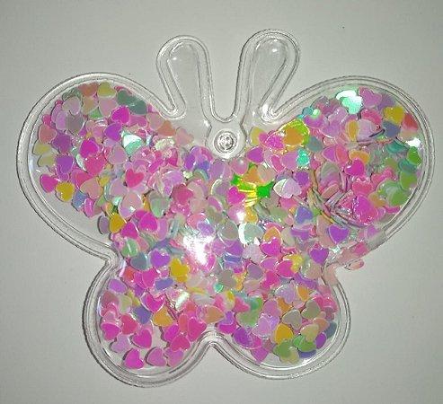 Aplique Plástico Transparente Borboleta Coraçãozinho