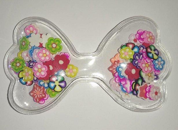 Aplique Plástico Transparente Laço Florzinhas