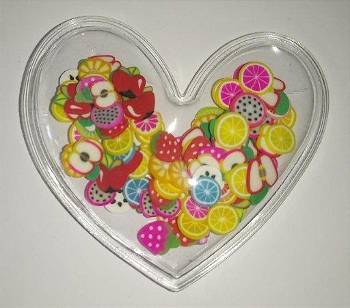 Aplique Plástico Transparente Coração Frutinhas