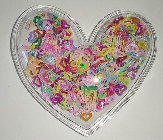 Aplique Plástico Transparente Mini Coração