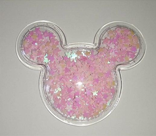 Aplique Plástico Transparente Mickey Rosa