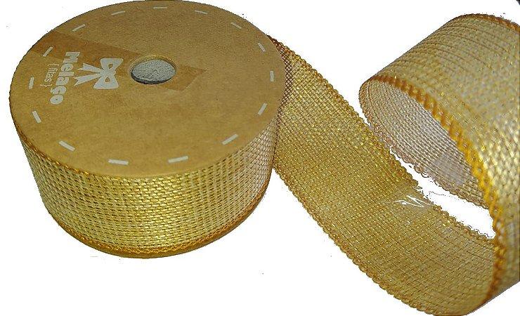 Fita de Juta Metalizado Dourado 30
