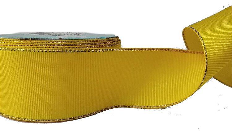 Fita de Gorgurão Borda Dourada Amarelo