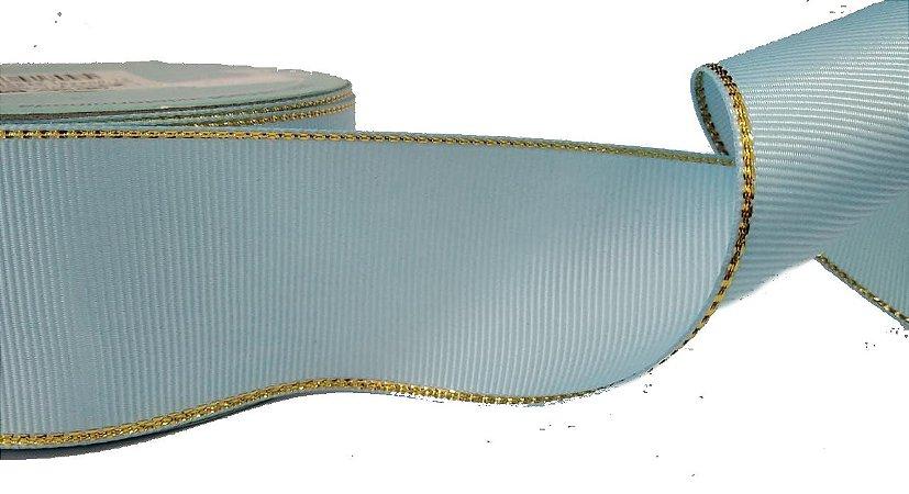 Fita de Gorgurão Borda Dourada Azul