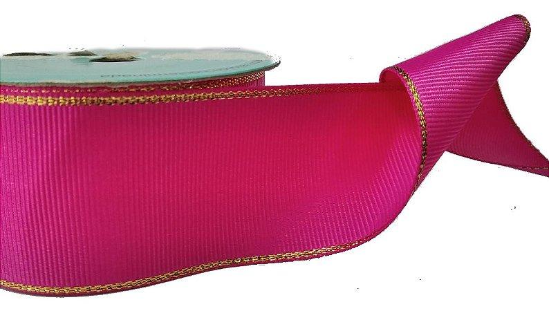Fita de Gorgurão Borda Dourada Pink