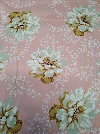 Tecido Tricoline Floral Rosa BB (Meio Metro)