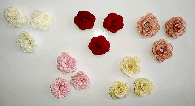 Aplique Florzinhas de Tecido - Pacote com 5 unidades