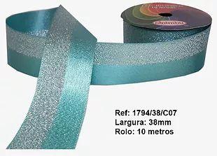 Fita Decorativa Dupla Lurex com Cetim 38mm Sinimbu - 07 Tiffany