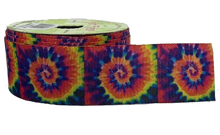 Fita de Gorgurão Tie Dye Espiral Arco Íris 2018