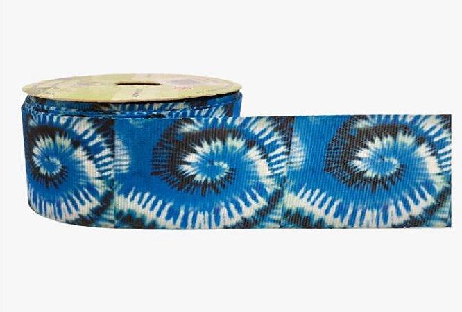 Fita de Gorgurão Tie Dye Espiral Azul 2042