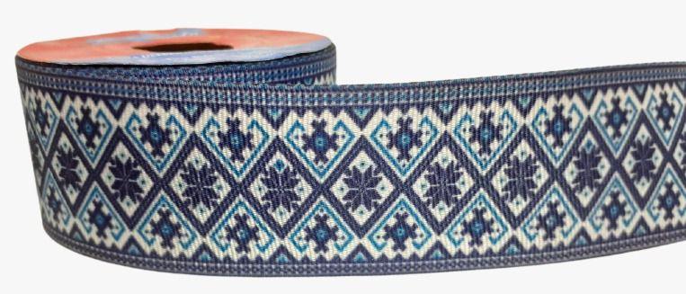 Fita de Gorgurão Moldura Azul e Branco
