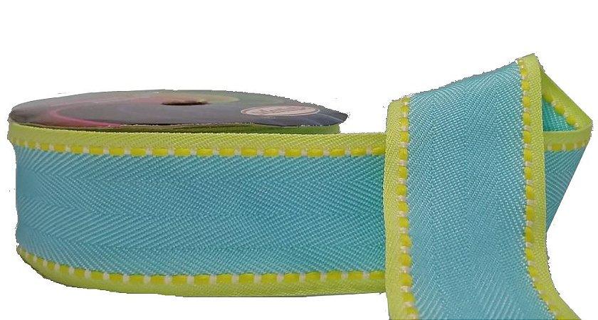 Fita Gorgurão Pesponto Azul Frozen com Amarelo 04