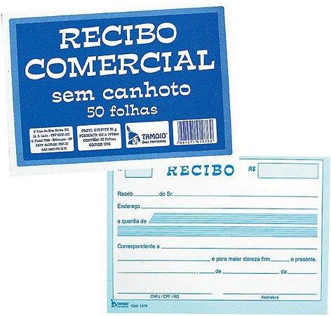 RECIBO COMERCIAL SEM CANHOTO TAMOIO - 50 FLS - 10X15