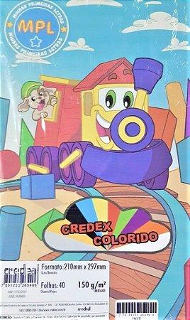 Papel colorido - 150g/m2 - pacote com 40 folhas - 210mm x 297mm - CREDEAL