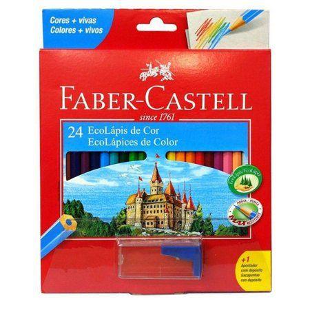 Lápis de cor Faber-Castell com 24 cores + apontador com depósito