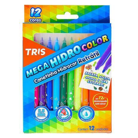 Caneta hidrográfica retrátil - 12 cores - Mega HidroColor Tris