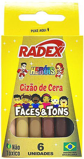 Gizão de cera Faces & Tons 6 cores - Radex