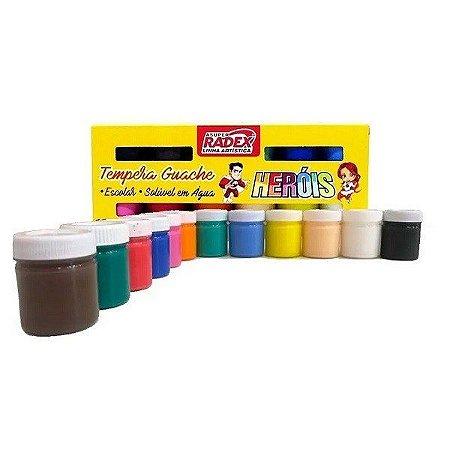 Tinta guache com 12 cores - Heróis - Radex