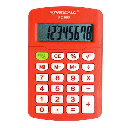 Calculadora Procalc - PC 986 - Vivid Colors - laranja