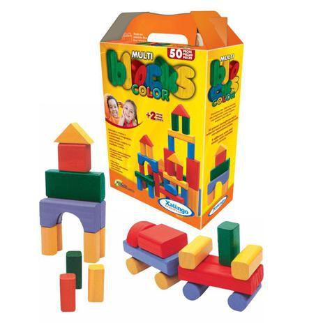 Multi Blocks Color - 50 peças de madeira reflorestada - Xalingo