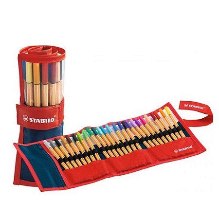 Estojo de canetas Stabilo - 25 cores sortidas - 0,4mm