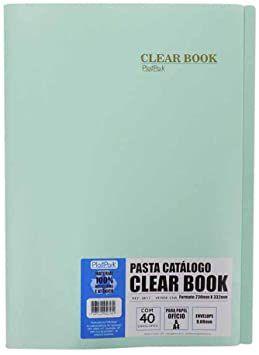 Pasta catálogo Clear Book c/ 40 sacos plásticos - 230mm x 332mm - A4 e ofício - azul ceu - Plastpark