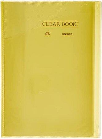 Pasta catálogo Clear Book - 50 sacos plásticos - 236mm x 307mm - A4 - amarela - Yes