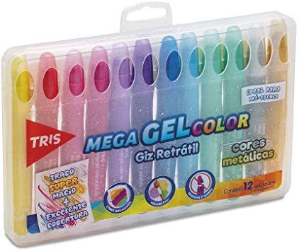 Giz de cera retrátil Mega Gel Color - cores metálicas - 12 cores - aquarelável - Tris