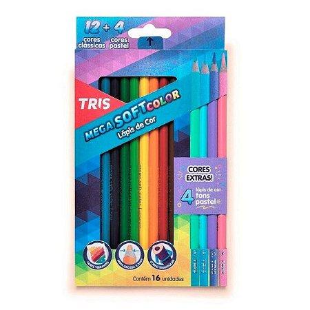 Lápis de cor 12 cores + 4 cores tons pastel extra - Tris