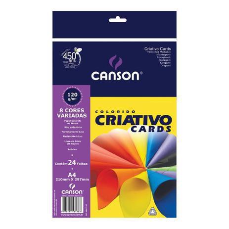 Papel criativo Cards - 120g/m2 - A4 - 24 folhas - 8 cores - Canson
