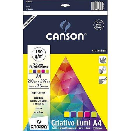 Papel criativo Lumi cards - 180g/m2 - A4 - 25 folhas - 5 cores - Canson